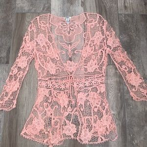 CATO Pink Boho Festival Crochet Lace Cover Large